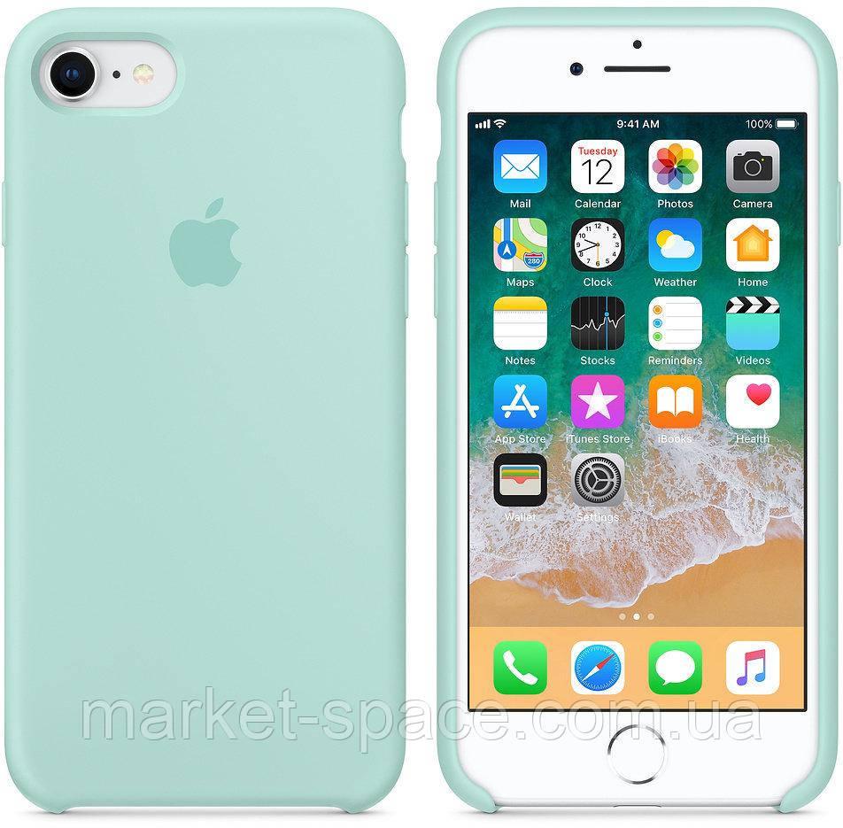 """Чехол силиконовый для iPhone 7/8. Apple Silicone Case, цвет """"Зелёная лагуна"""""""