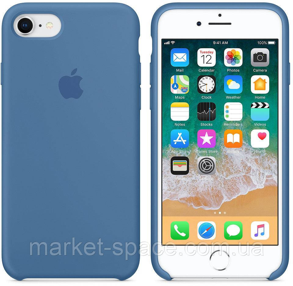 """Чехол силиконовый для iPhone 7/8. Apple Silicone Case, цвет """"Синий деним"""""""