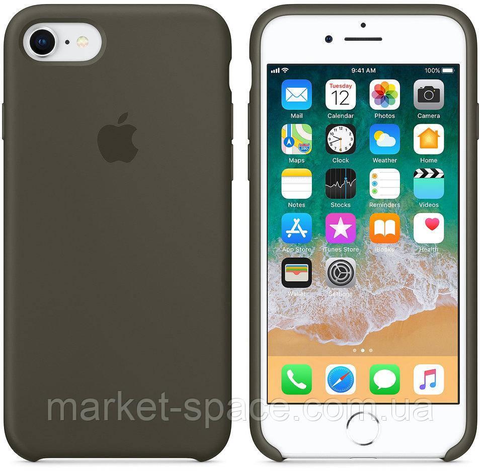 """Чехол силиконовый для iPhone 7/8. Apple Silicone Case, цвет """"Тёмно-оливковый"""""""