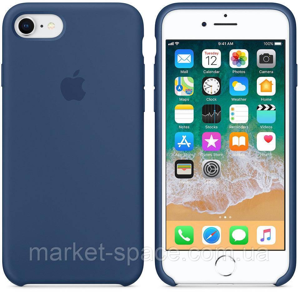 """Чехол силиконовый для iPhone 7/8. Apple Silicone Case, цвет """"Тёмный кобальт"""""""