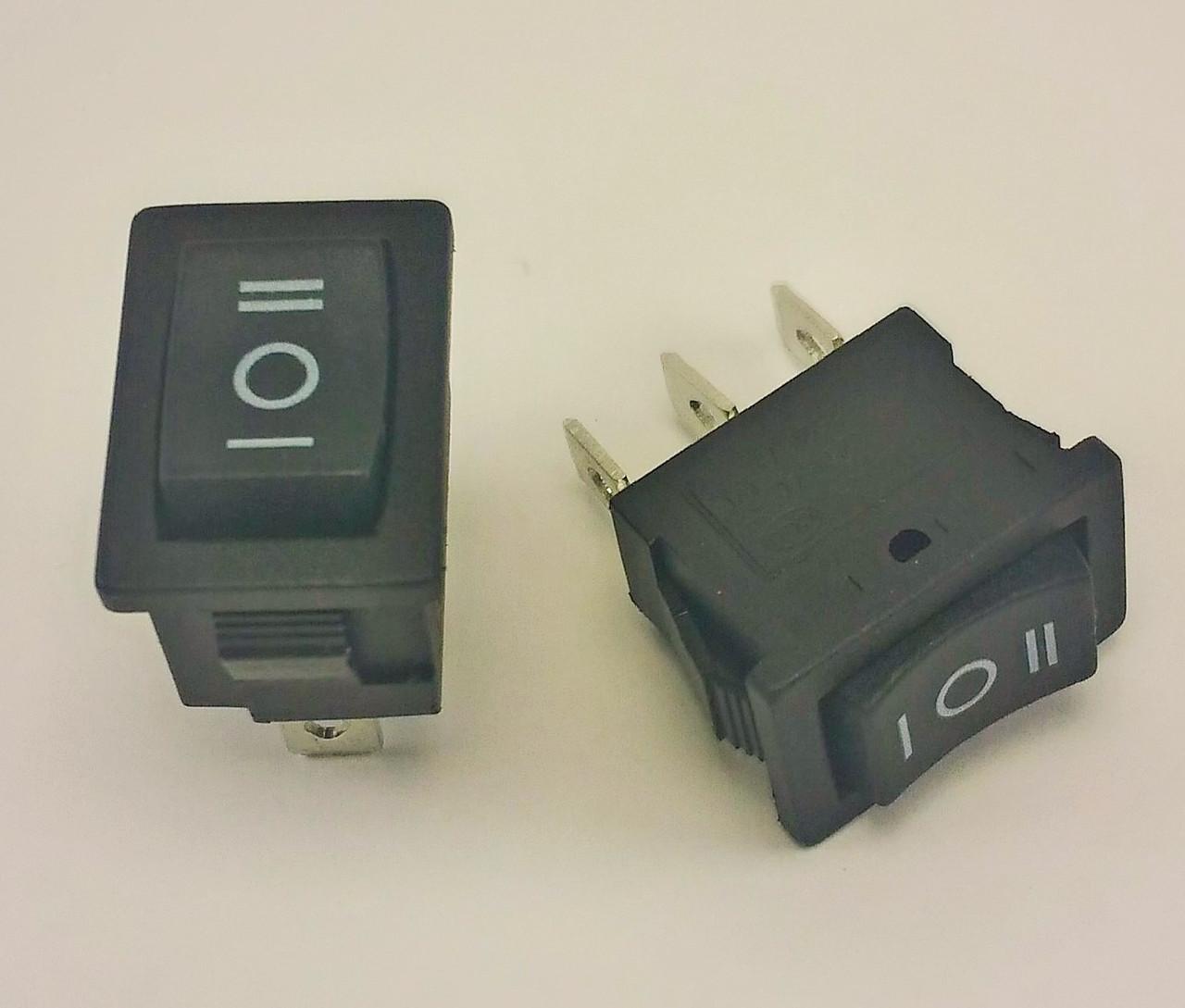 Переключатель, кнопка, выключатель, тумблер 3 положения 3 контакта. 15*10 мм. черная. 1 шт