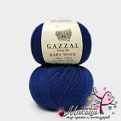 Пряжа Бэби вул Baby Wool Gazzal, №802, т. синий