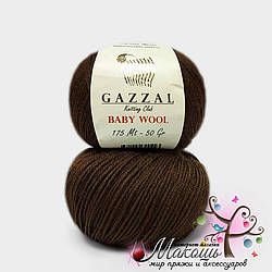 Пряжа Бэби вул Baby Wool Gazzal, №807, шоколад