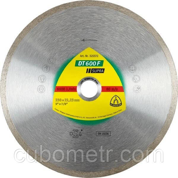 Диск алмазный Klingspor SUPRA DT600F 200X25,4 / 30 (керамическая плитка, керамогранит)