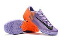 Футбольные сороконожки Nike Mercurial VaporX XII Club TF Lilac/Black/Total Orange, фото 1