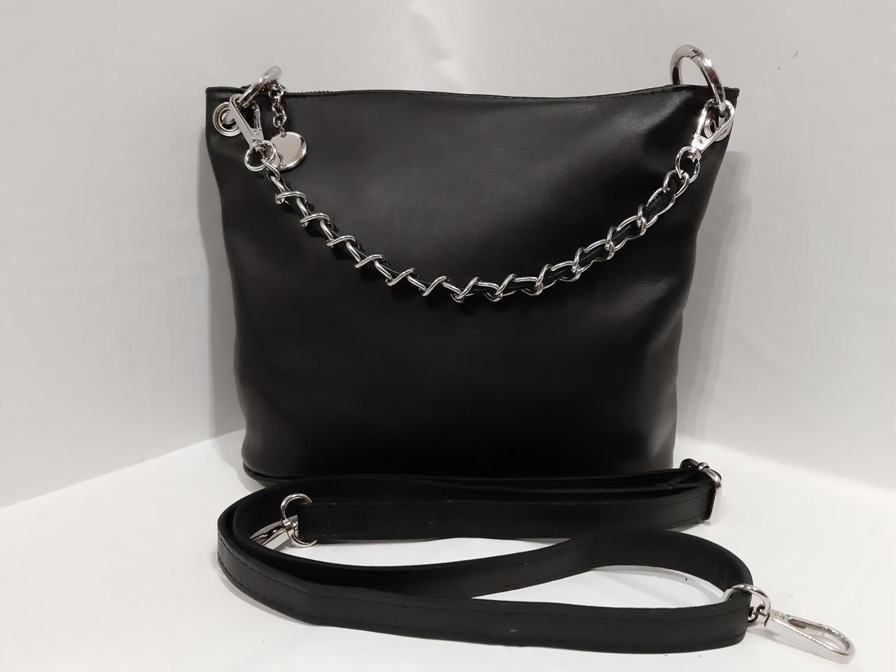 4540750f877c Женская кожаная черная сумка на длином ремешке через плече имеет короткую  ручку цепочку - Feminine-