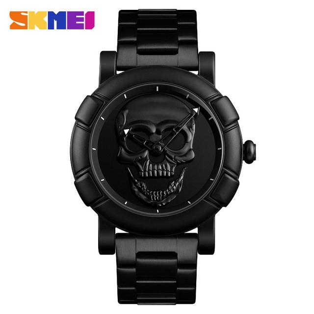 Skmei 9178  skull  черные мужские  часы