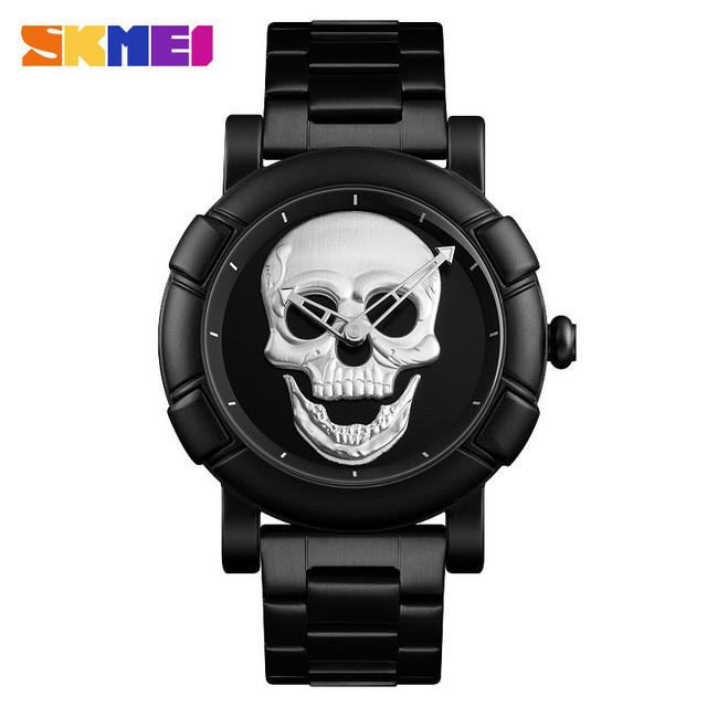 Skmei 9178 skull черные с серебристым мужские часы