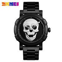 Skmei 9178 skull черные с серебристым мужские часы, фото 1
