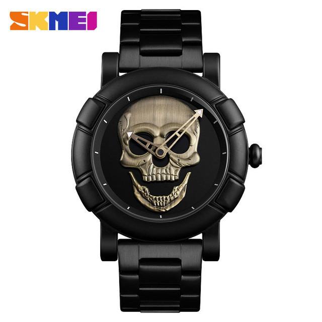 Skmei  9178  skull  черные с бронзой мужские часы