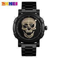 Skmei  9178  skull  черные с бронзой мужские часы, фото 1