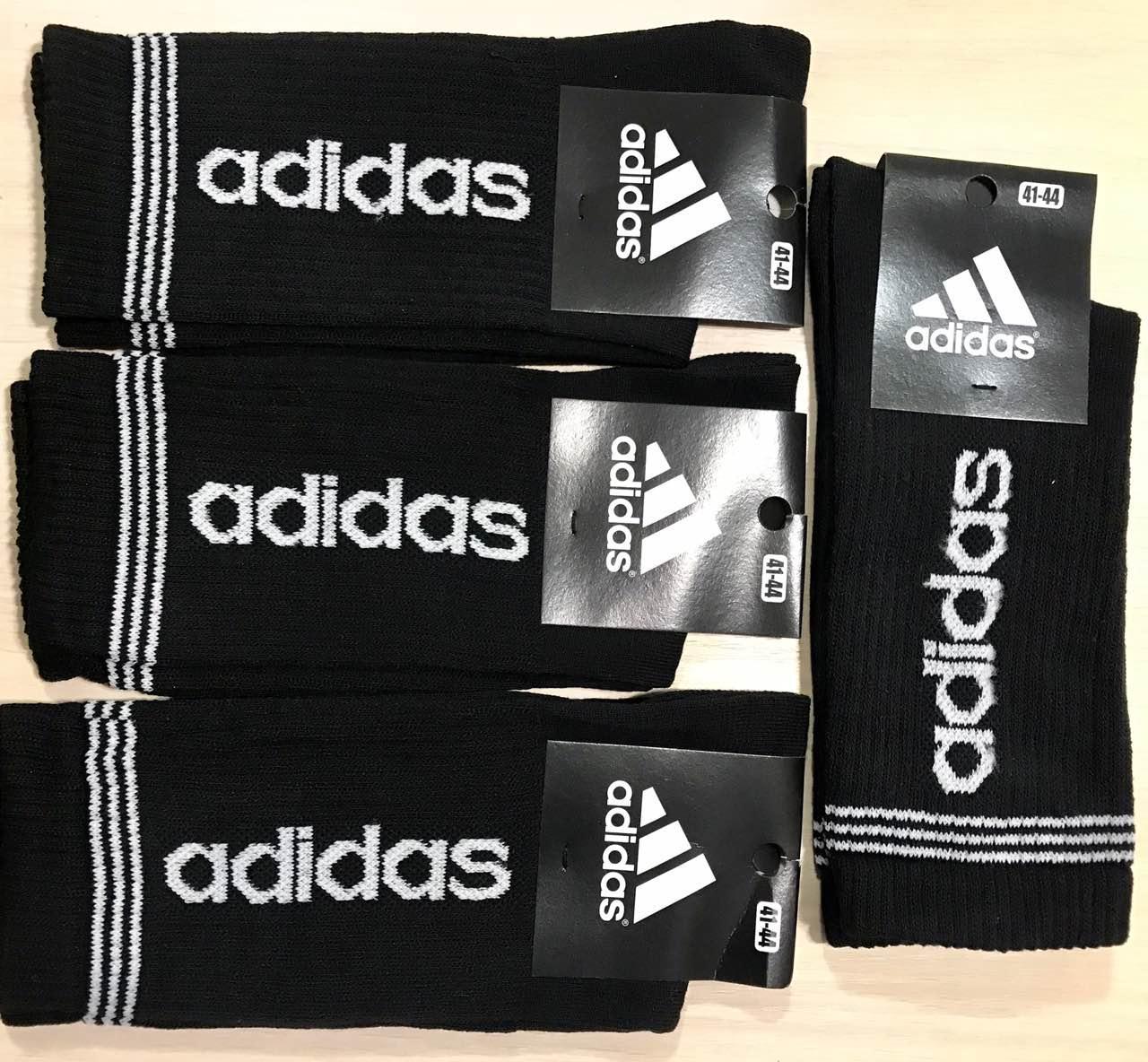 Шкарпетки чоловічі демісезонні спортивні високі з бавовни Adidas Туреччина розмір 41-45 чорні