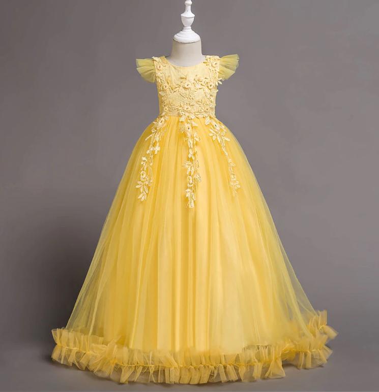 Платье желтое бальное выпускное длинное в пол нарядное для девочки в садик или школу