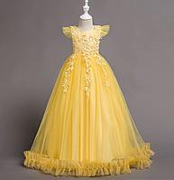 Платье желтое бальное выпускное длинное в пол нарядное для девочки в садик или школу, фото 1