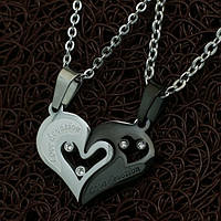 """Парные кулоны две половинки сердца """"Хранители Единства"""" Black Edition"""