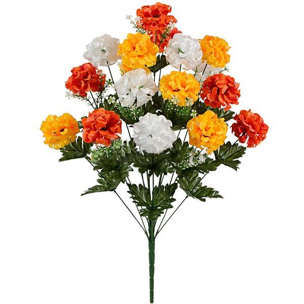 Букет искусственных шаровидных хризантем, 65см