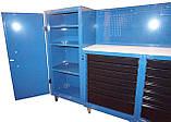Тележка инструментальная 14 полок с боковыми шкафчиками и перфорированной панелью, фото 2