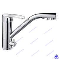 Смеситель для кухни одноручковый с поворотным изливом и выходом для питьевой воды Focus Chr-021