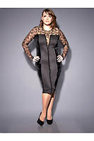 Платье из плотного трикотажа, велюра и гипюра