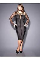 Платье из плотного трикотажа, велюра и гипюра, фото 1