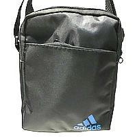 Текстильные барсетки S Adidas (черный+голубой)14*19см