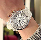 Часы женские светящиеся со стразами кварцевые белые, фото 2