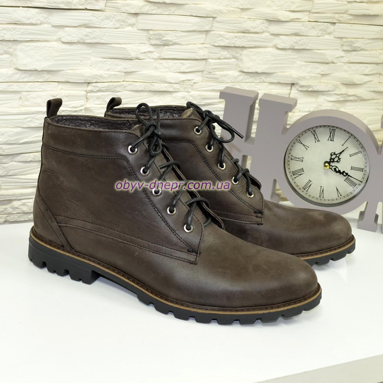 Ботинки коричневые мужские на шнуровке, из натуральной кожи нубук