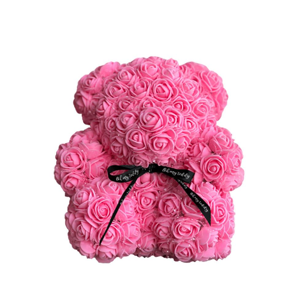 Мишка из роз в коробке 25 см - РОЗОВЫЙ