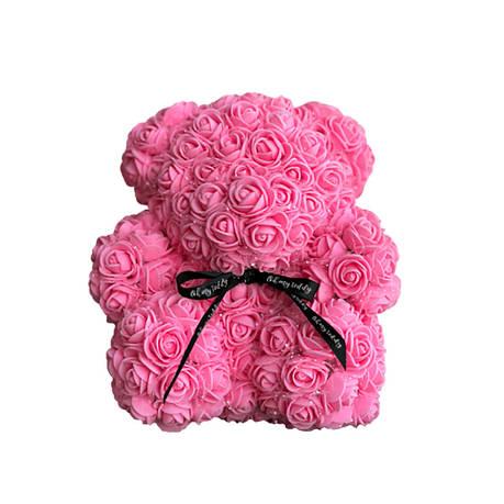 Мишка из роз в коробке 25 см - РОЗОВЫЙ, фото 2