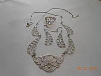 Кружевной серебряный набор украшений