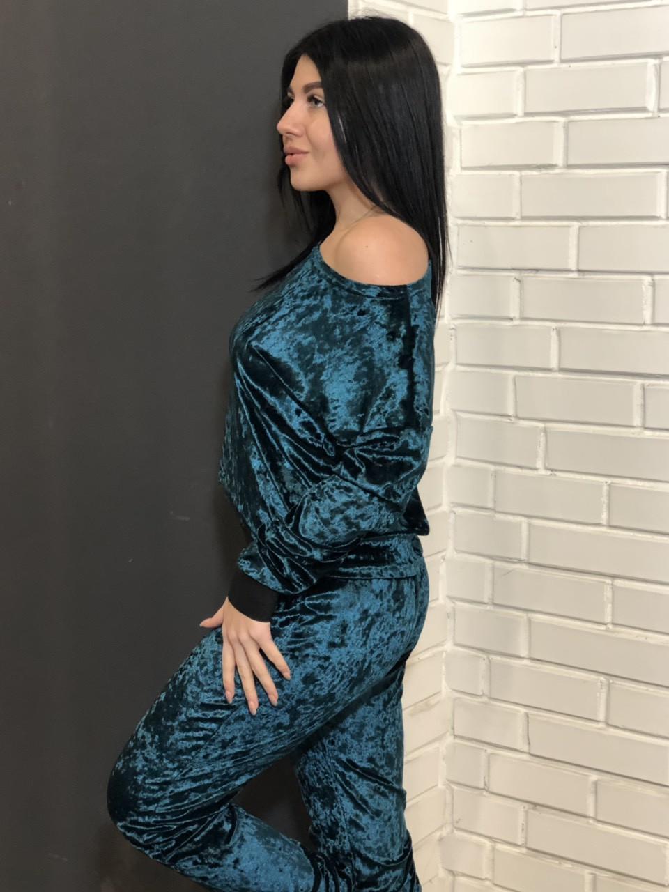Женский спортивный костюм для домаТМExclusive: кофта и штаны изумрудного цвета