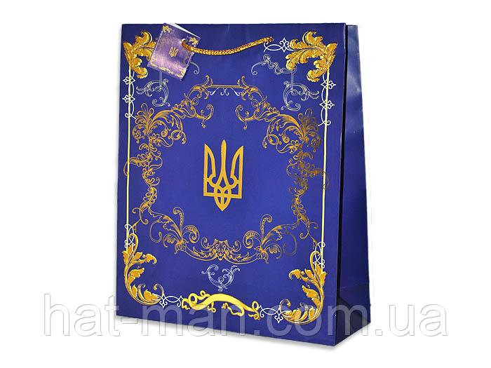 Пакет середній з гербом України (32 см*26 см*10 см)