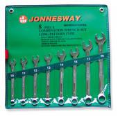 Набор ключей комбинированных,  хромированных 10-19 мм,  8 предметов W264108PRS (Jonnesway, Тайвань)