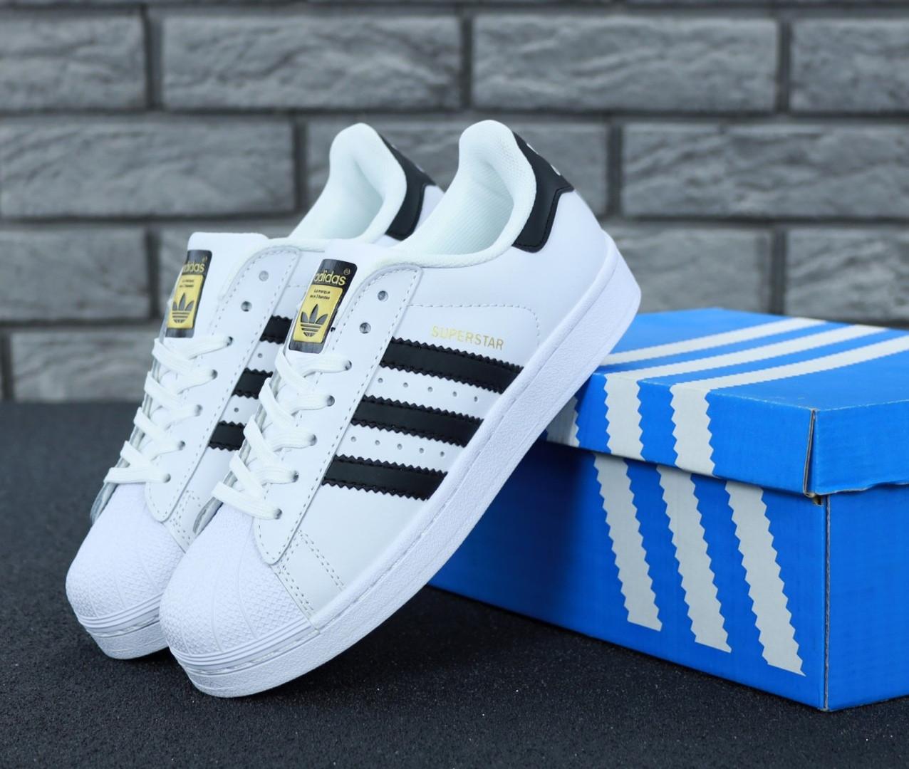 bd96d78f Кроссовки мужские Adidas Superstar White/Black/Gold, адидас суперстар /  Реплика 1: