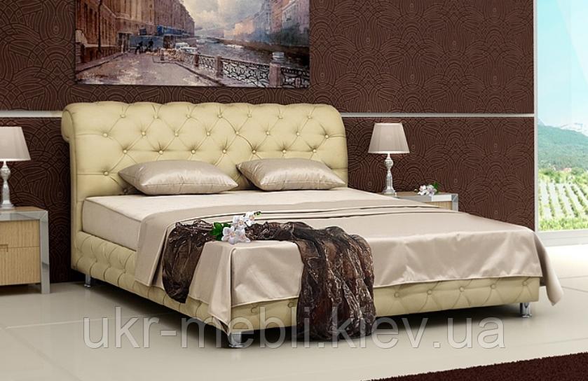 Кровать двуспальная с мягкой спинкой и матрасом Соната 160, Юдин