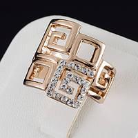 Роскошное кольцо с кристаллами Swarovski, покрытие золото 0499