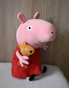 Мягкая игрушка свинка Пеппа с игрушкой, Peppa 30 см
