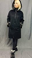 Дубленка женская длинная  с карманами, зимняя экодубленка, с эффектом пропитки
