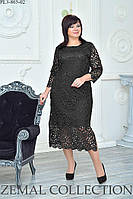 Нарядное женское ботальное ЧЕРНОЕ платье из кружева на подкладке 52,54,56,58р МИДИ