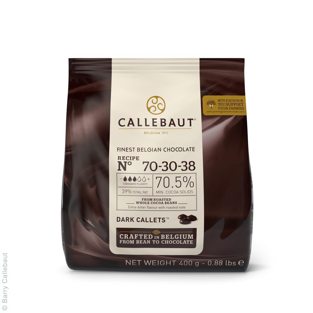 """Черный шоколад """"Экстра горький"""" 70,5 % какао 0,4 кг (70-30-38) ТМ """"Callebaut"""""""