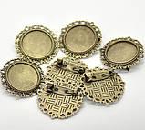 Основы для брошей 35х30мм бронза для рукоделия, фото 3