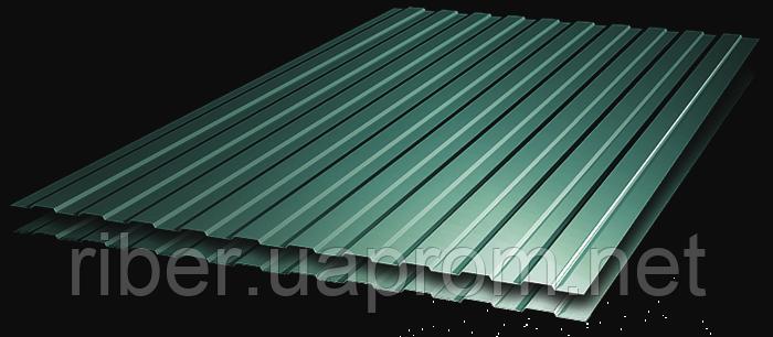 Профнастил ПС 8 - 0,40мм 1200х1700, RAL 6005 (зеленый мох)
