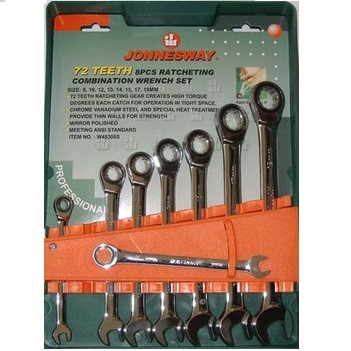 Набор ключей комбинированных трещоточных ключей с карданом, 8 предметов  W66308S ( Jonnesway, Тайвань)