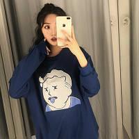 """Модный женский свитшот oversize """"корея""""с рисунком цвет синий"""