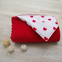 """Одеяло детское из плюша Minky красное """"Ярко-красные сердца на белом"""""""