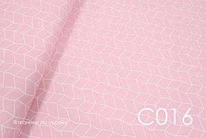 Тканина сатин Геометрія велика на рожевому