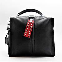 Стильная женская сумка черного цвета с молнией по середина (кожа) ВВВ-200022, фото 1