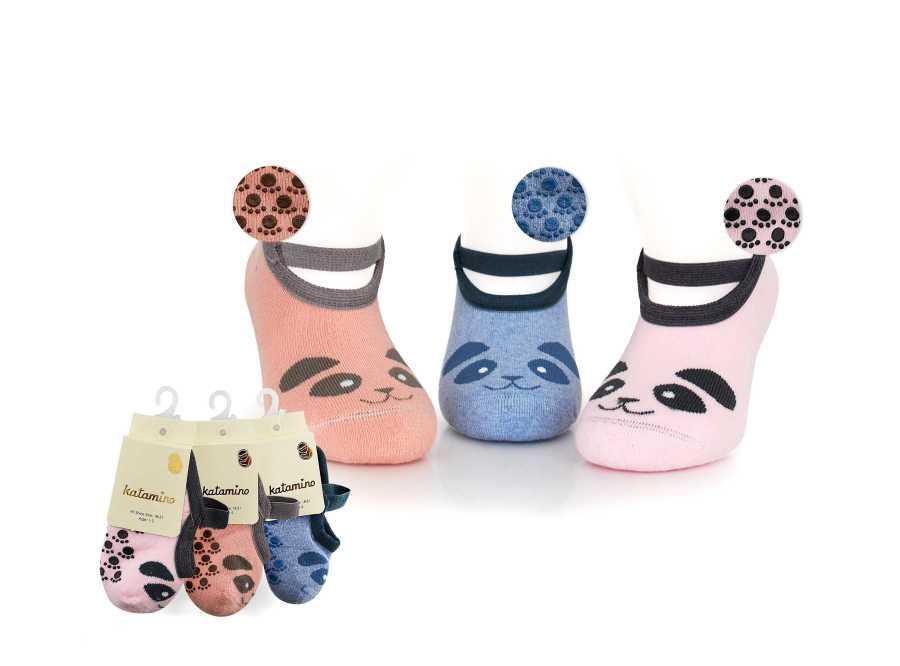 Носки-тапочки махровые с резинкой Katamino K83023  9-12 лет розовые