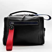 Прекрасная женская сумка черного цвета с красной лентой (кожа) ВВВ-200031, фото 1