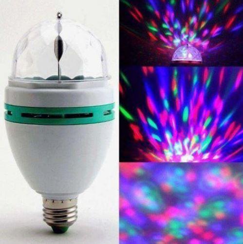 Светодиодная вращающаяся диско лампа с переходником LED Full Color Rotating Lamp